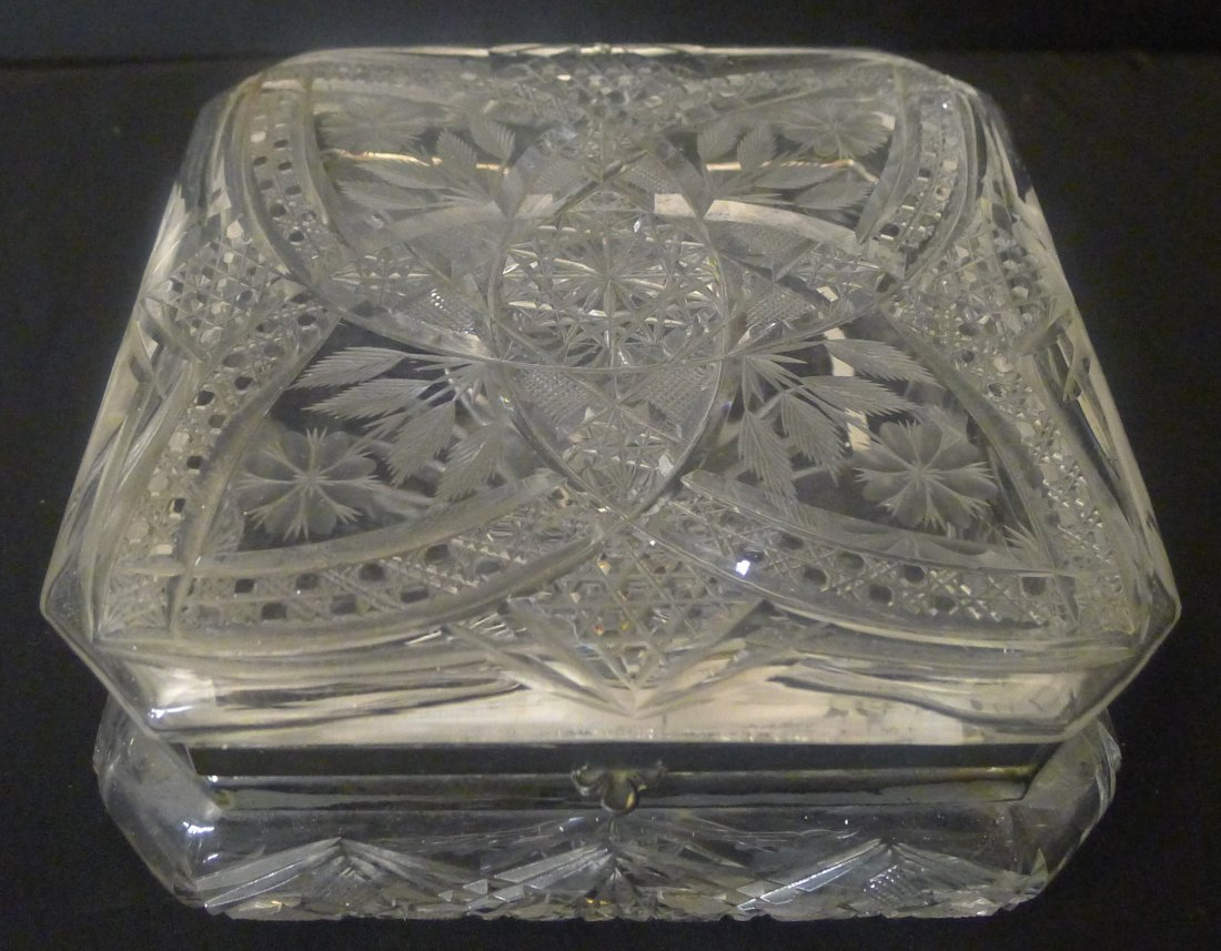 Large cut glass box