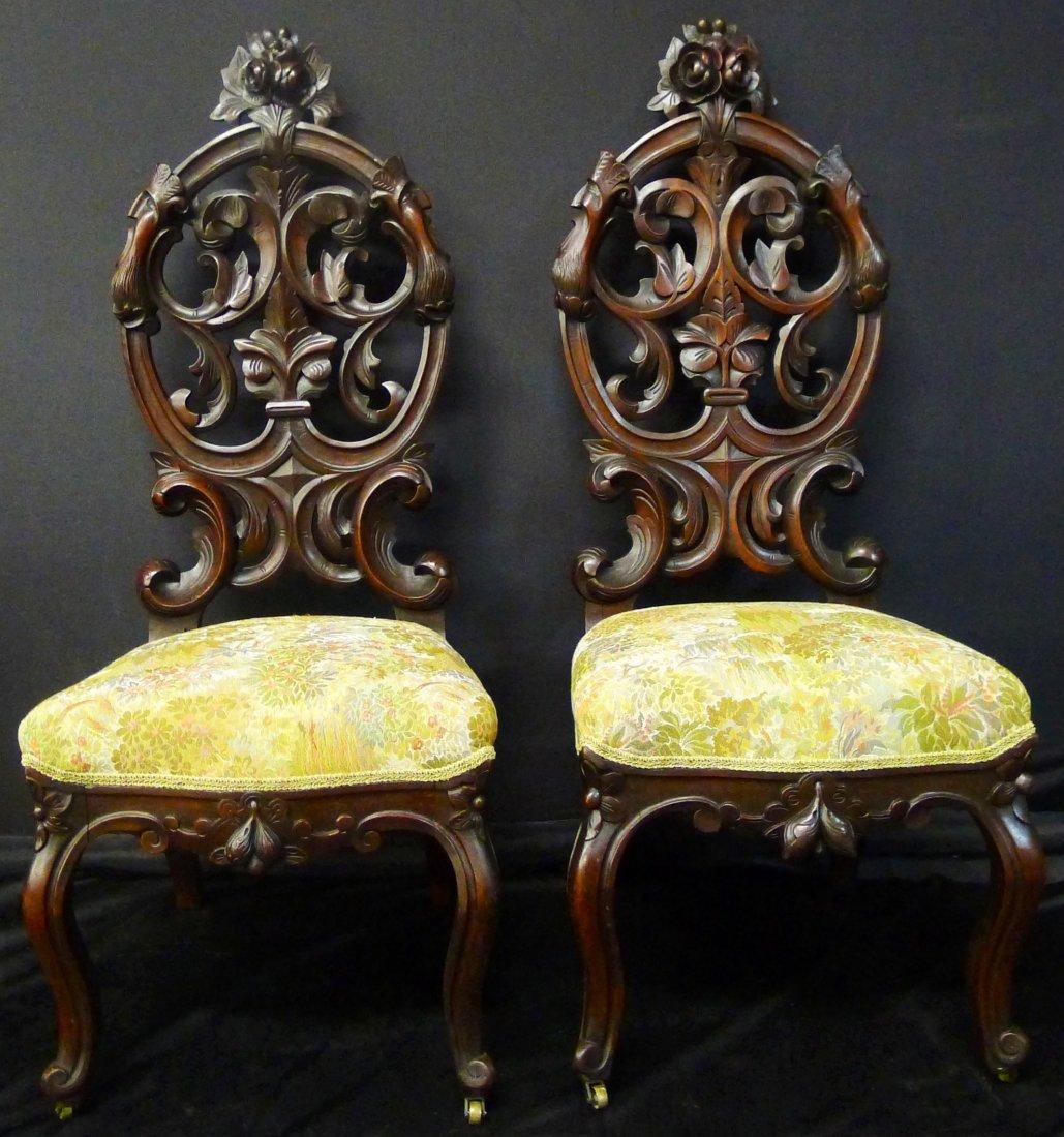 Pair of walnut Victorian slipper chairs