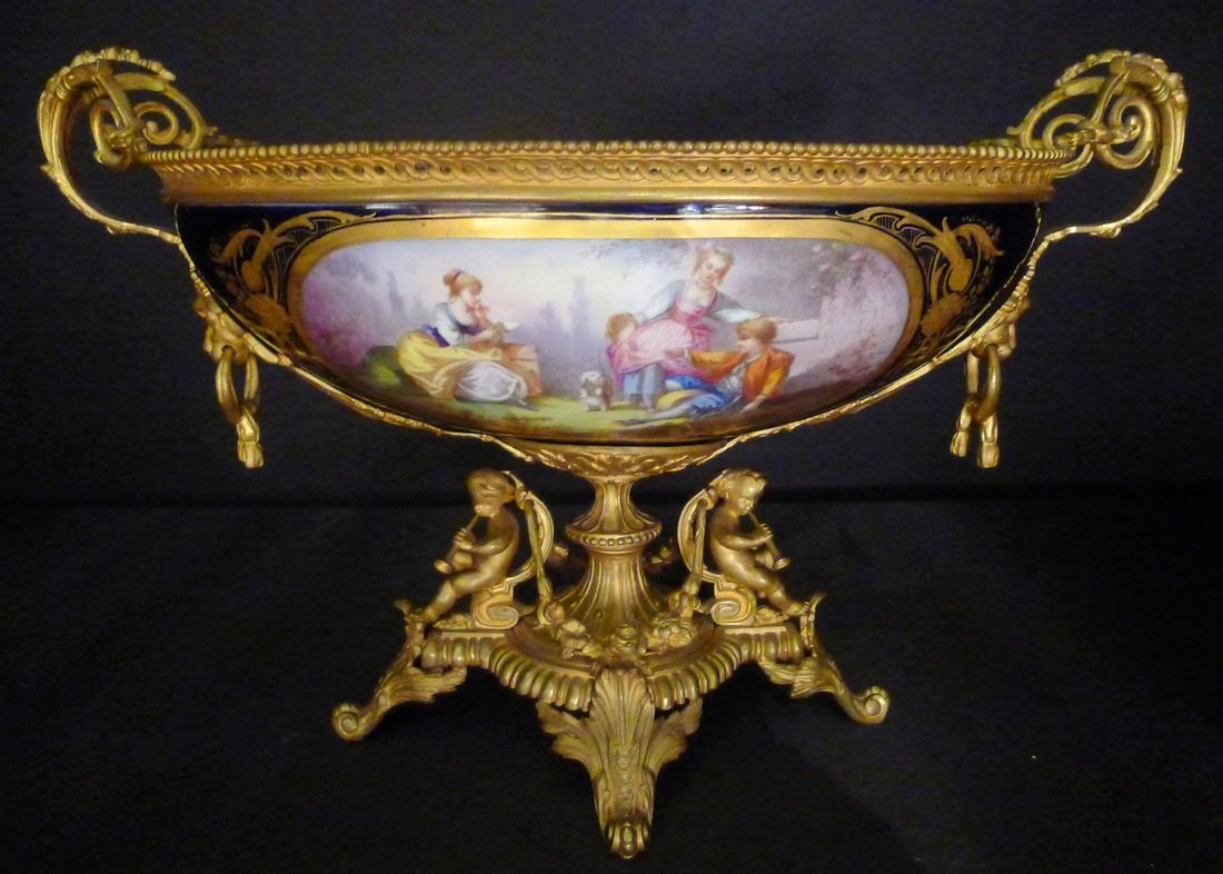 19th Century Sevres and Gilt Bronze Figural Center