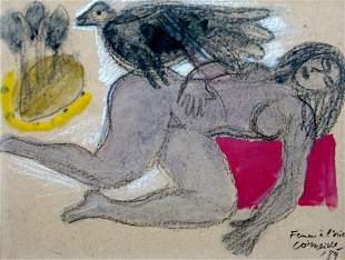 GUILLAUME CORNEILLE, Femme à l'oiseau, 1989