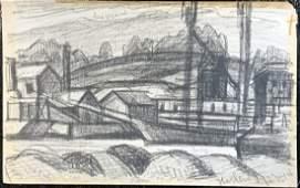 "Original Crayon - Oscar Bluemner ""Harlem July 1914"""