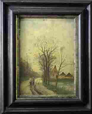 Fredricus Chattel (1856-1917) Shepherd & Flock - Oil