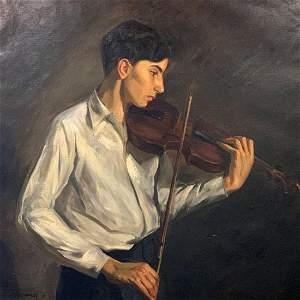 Claude Montgomery (1912-1990)- Violinist Large Oil