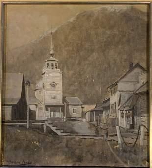Hugh Bolton Jones (1848 - 1927) The Church - Gouache