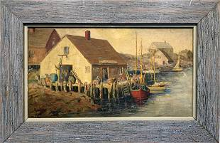 Max Kuehne (1880-1968) Fishing Village Oil Painting