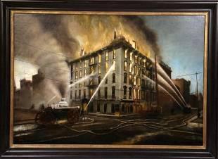 1908 Fire at Aveline by Elmer Stewart (1876-1962)