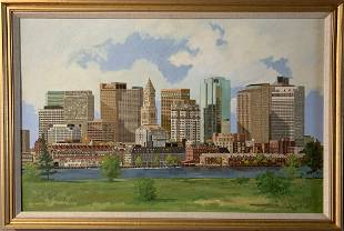 Monumental Boston Oil by Robert Solotaire (1930-2008)