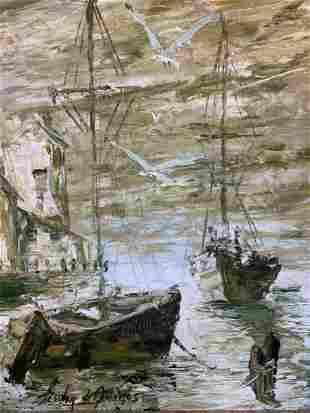 Lesver De Quiros (b.1983) Sailboats In The Calm