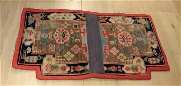 A Fine Lotus Handmade Wool Saddle Rug, Tibet, 19th cent