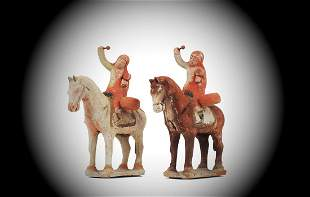 Extremely Rare Pair of Mounted Warriors, Sui Dynasty