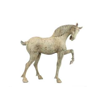 Grey Pottery Buff Figure of a Prancing Horse, Tang dyn.