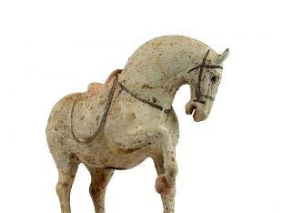 Terracotta Painted Buff Pottery Figure of a Horse, Tang
