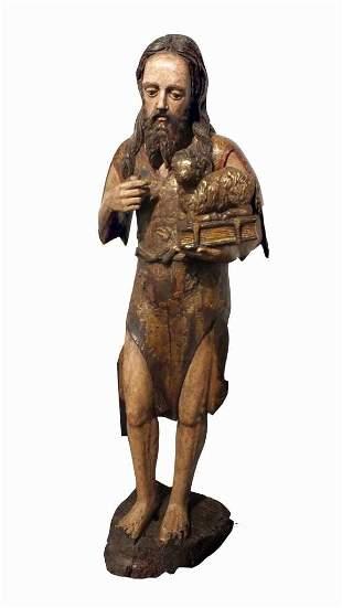 Polychrome Carved Wood Figure St John Baptist, 15th c.