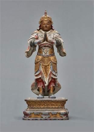 Rare and large wooden standing Idaten, Edo Period.