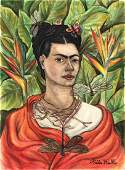 Frida Kahlo (Watercolor on paper) In the Style of