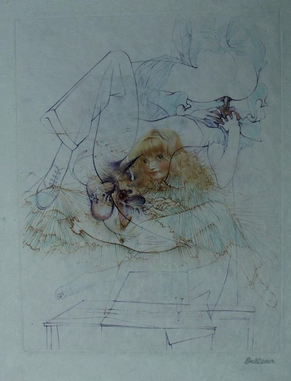 24: BELLMER, HANS, etching with aquarelle