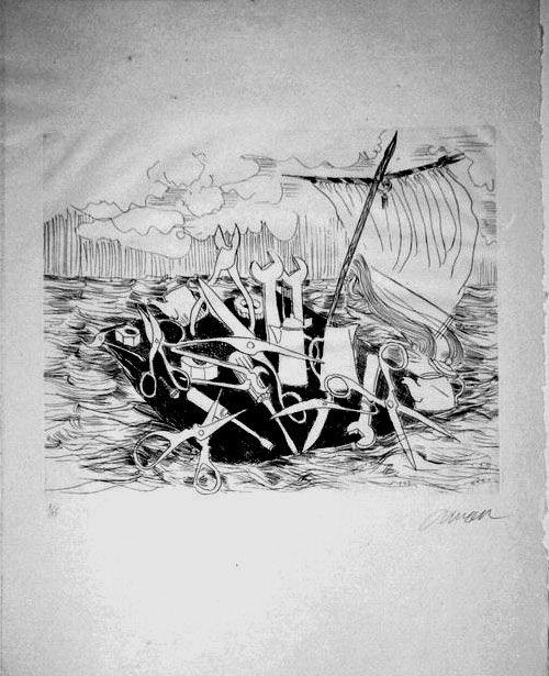 1011: ARMAN, FERNANDEZ 8 handsigned etchings 1992