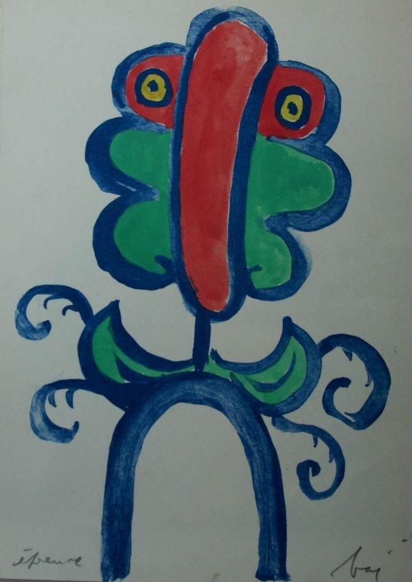 1017: BAJ, ENRICO Handpainted lithograph signed 1967
