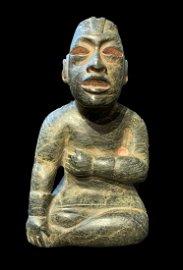 An Exquisite Large Jade Olmec Seated Venus/ Corn God
