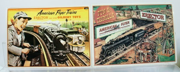 216: Lot of 2 American Flyer Tin Signs