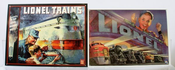 217: Lot of 2 Lionel Tin Signs