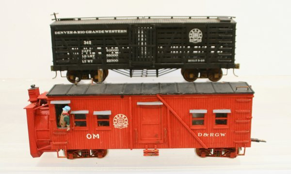417: Lot of 2 Cars:  Rotary Snow Plow & a Cattle Car