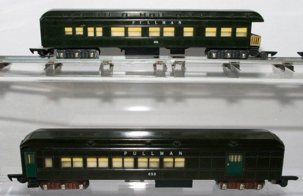 497: American Flyer Dark Green Pullman Cars 652 652 653