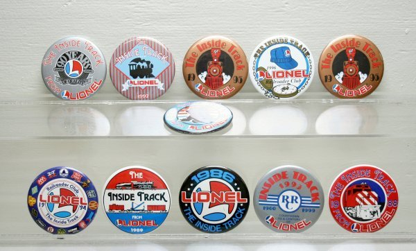 1216: Lionel Railroader Club Buttons 1986 thru 1996