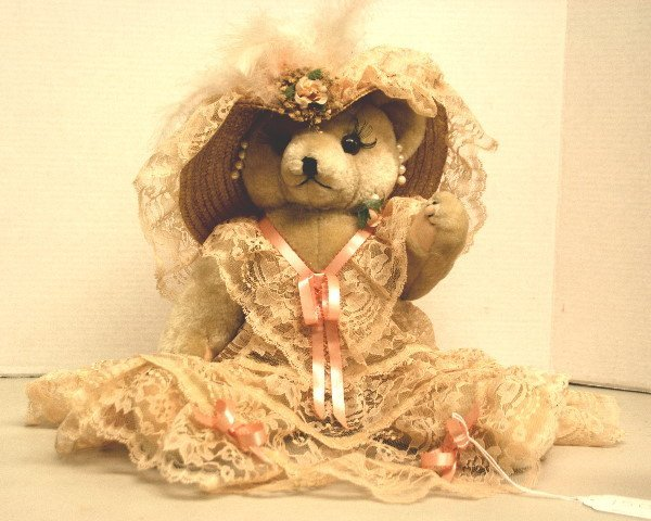 1503: Jointed Bear dressed in lace with hat and earring