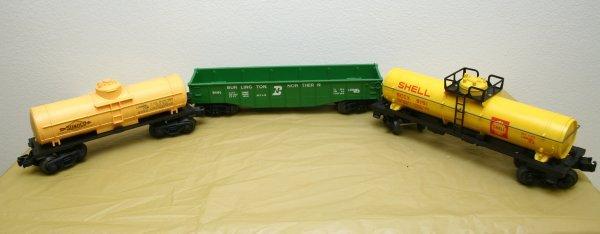 2622: Lionel O Gauge Shell 9151, Sunoco 9050, 9141 Gond