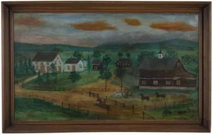 American School Folk Painting Depicting a Farm House