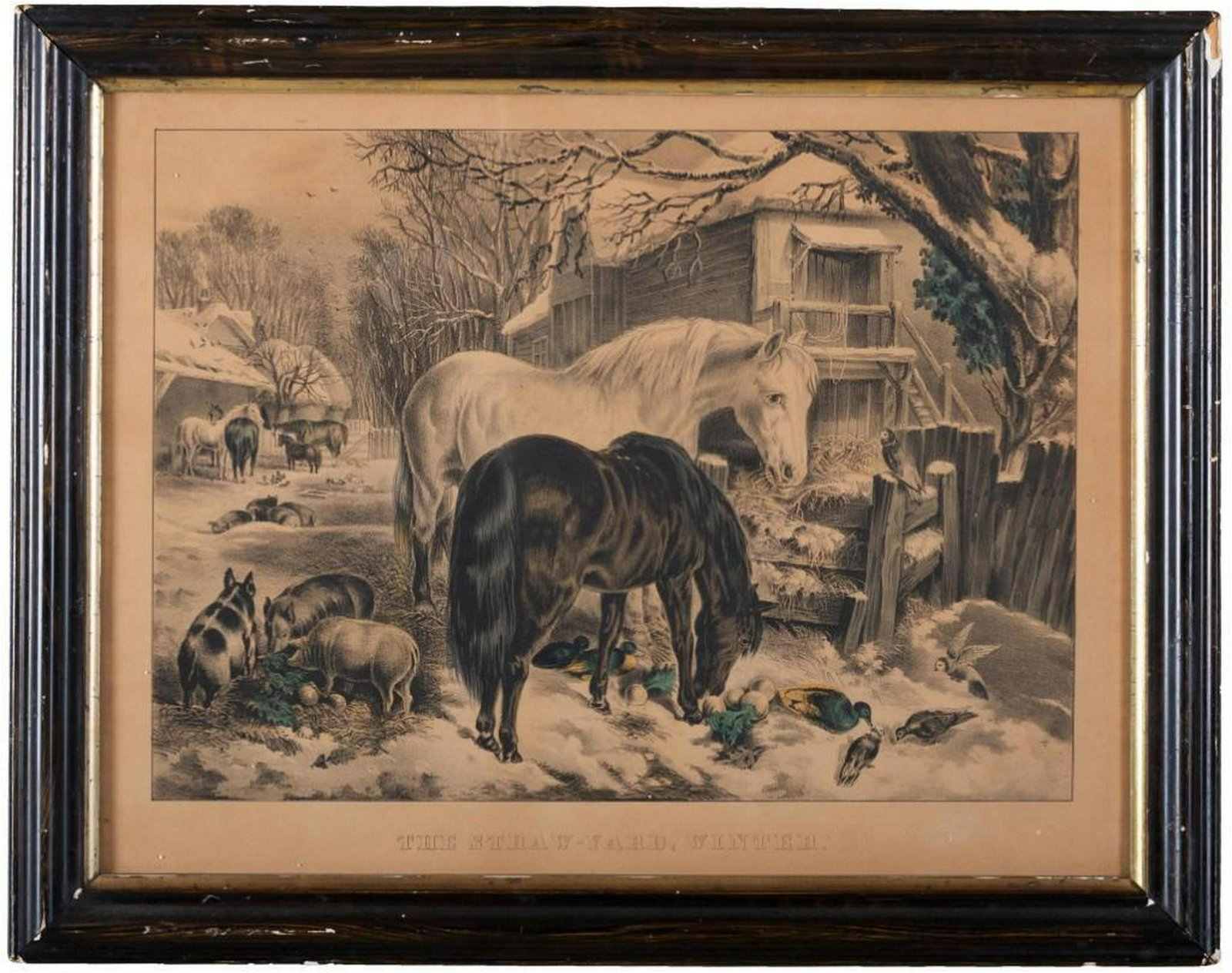 Currier & Ives. The Straw Yard, Winter.