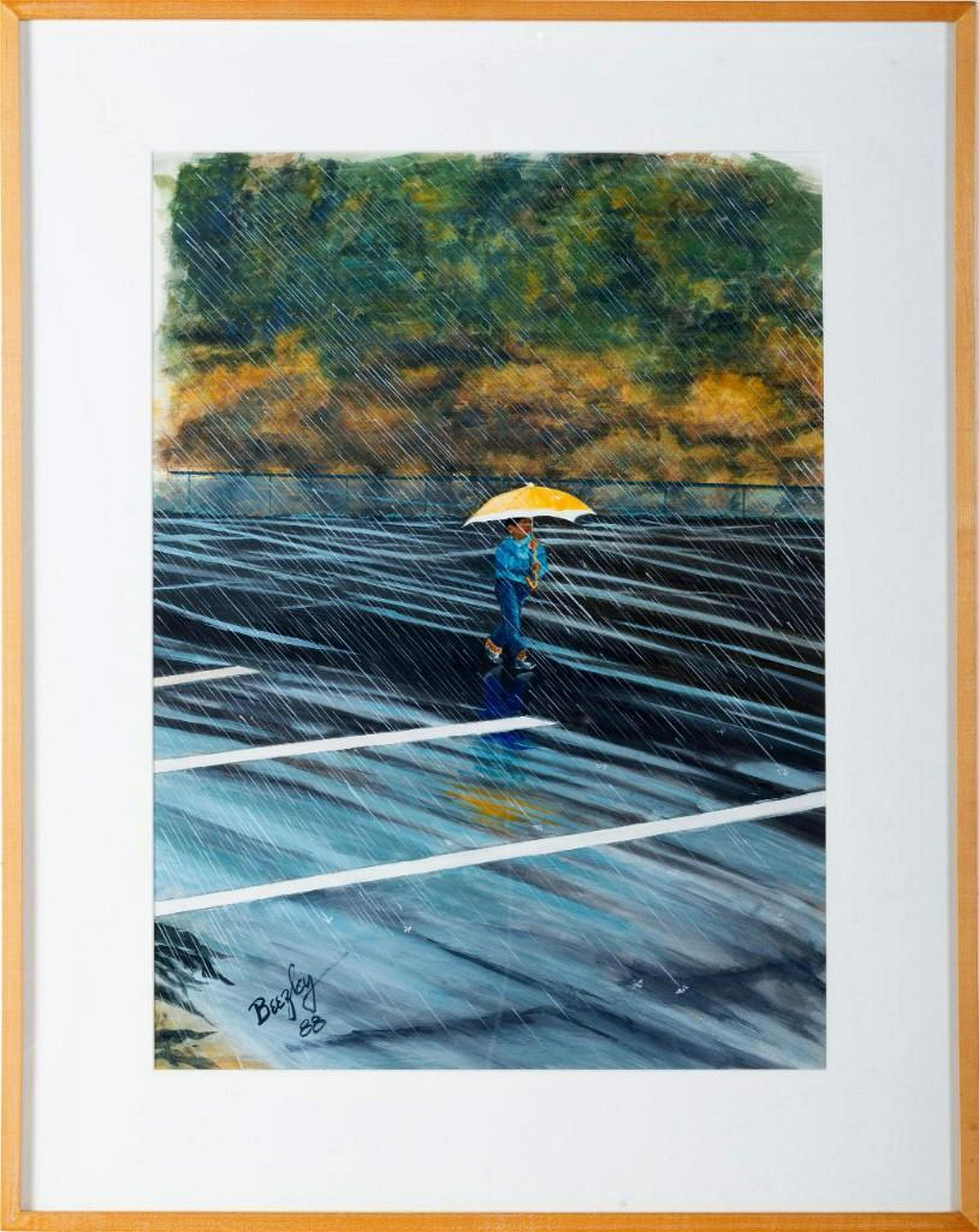 Painting of a Girl With Yellow Umbrella.