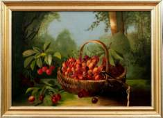 Still Life With Cherries, American School, Late 19th C.