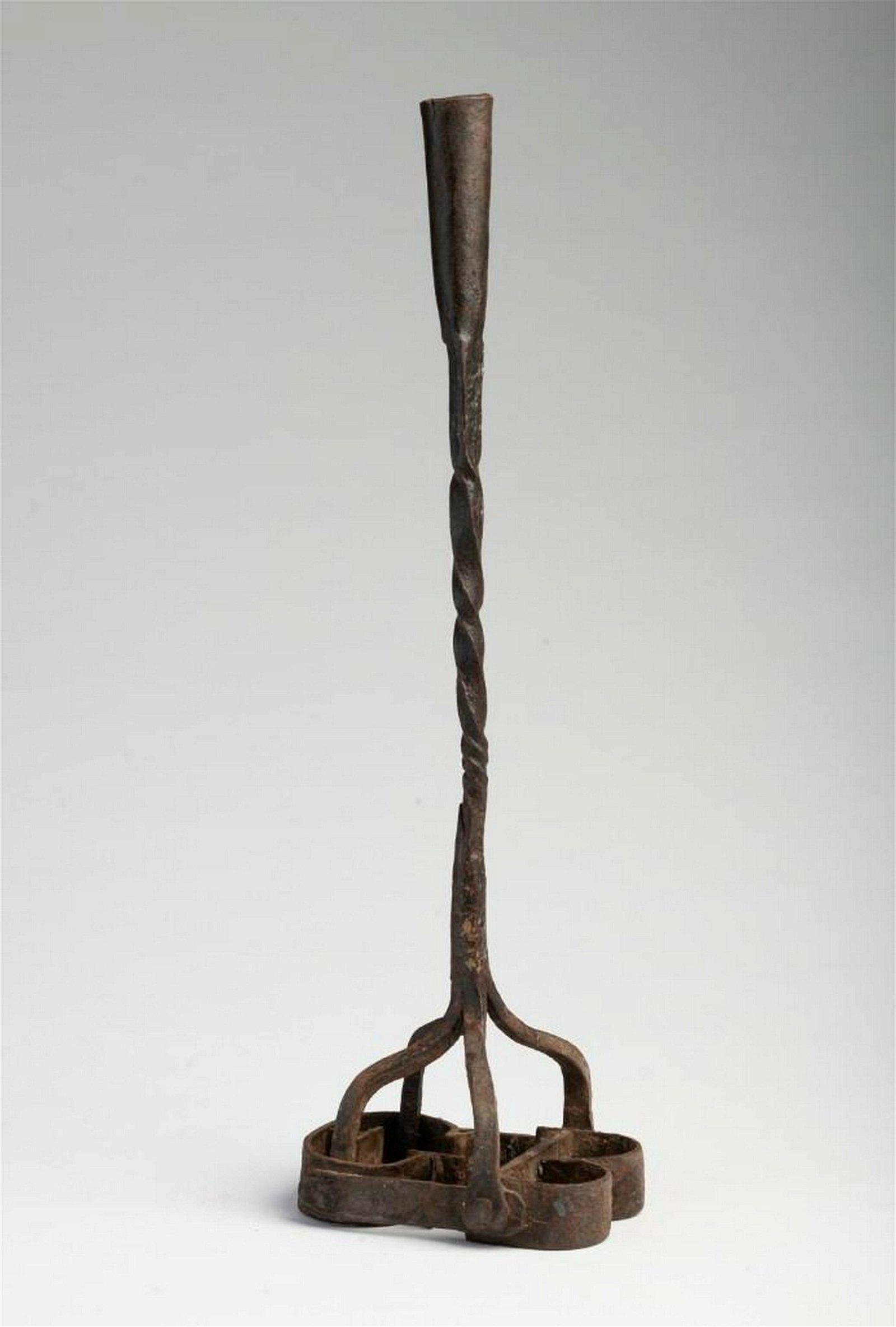 Cast Iron Branding Iron Candlestick.