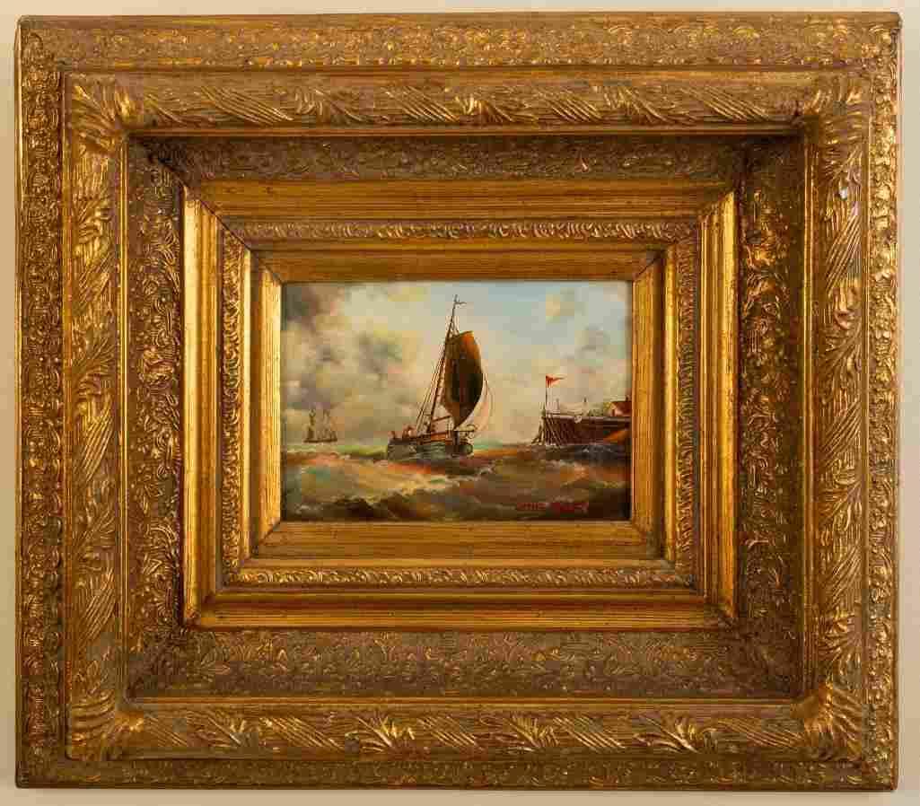 James Webb (1825-1895). Ship Approaching a Dock.