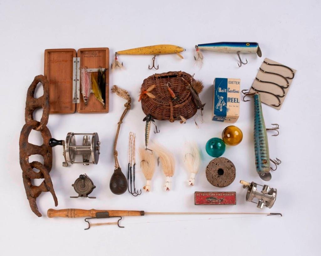 Collection of Vintage Fishing Lures, Reels and