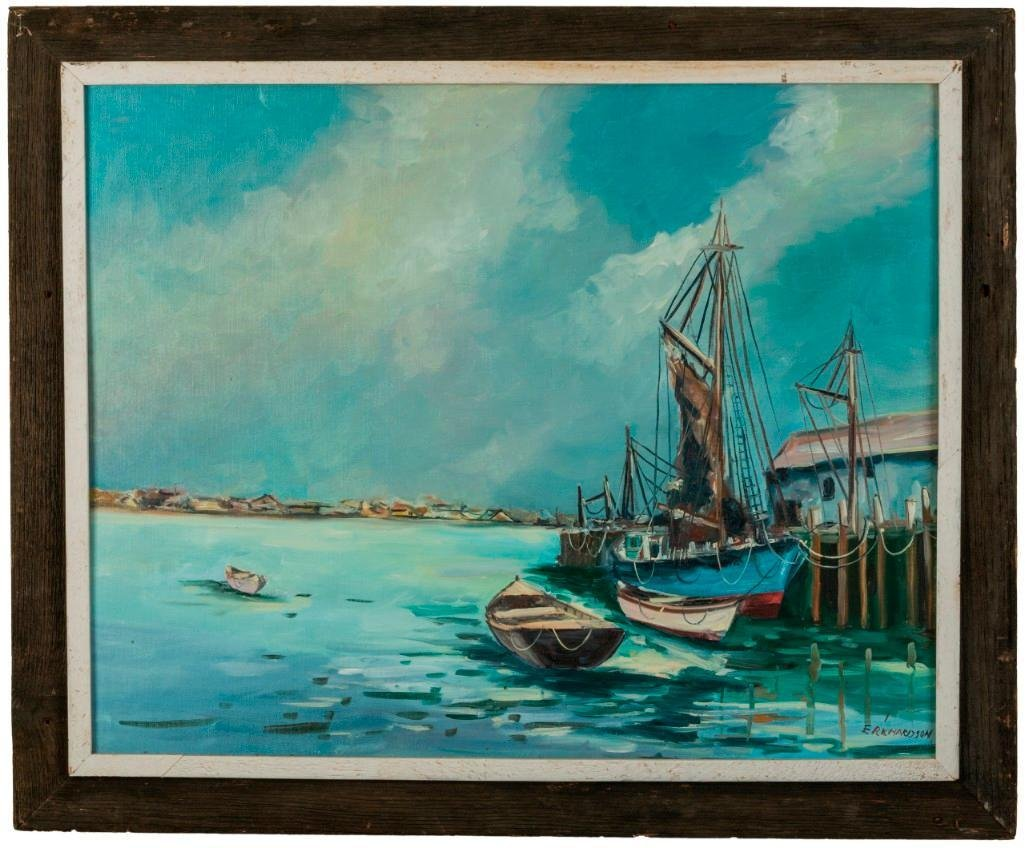 Wharf Scene With Sailboat and Dories.