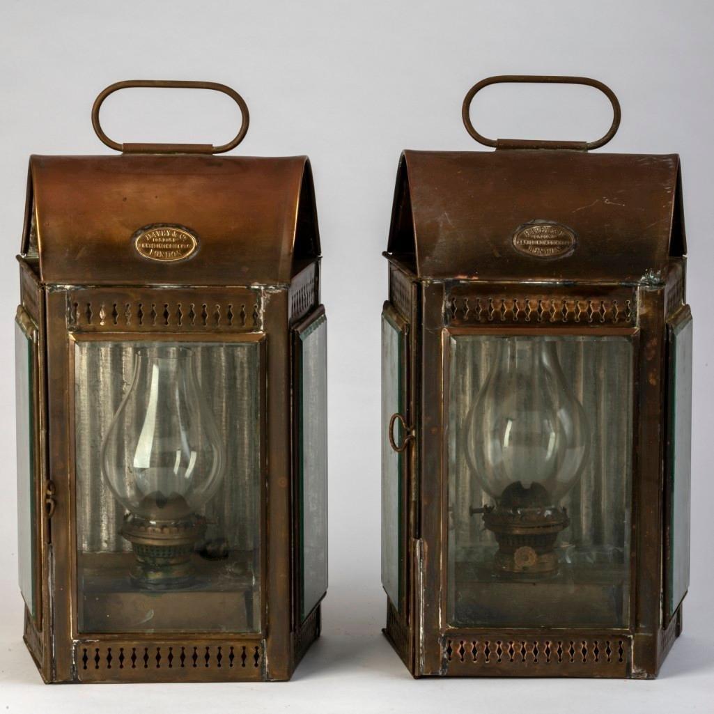 Pair of Davey & Co. Brass Yacht Lanterns