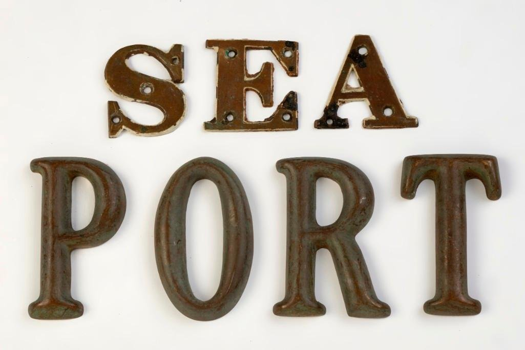 Two Sets of Brass Letters, 'Sea' and 'Port'