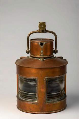 Copper Ship's Port and Starboard Lantern, Dated 1943.