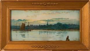 Louis K. Harlow (1850-1913). Moored Sailboats.