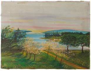 Folk Painting of a Nova Scotia Spring Scene.