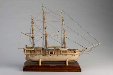 Carved Bone Model of the Ship Charles W. Morgan