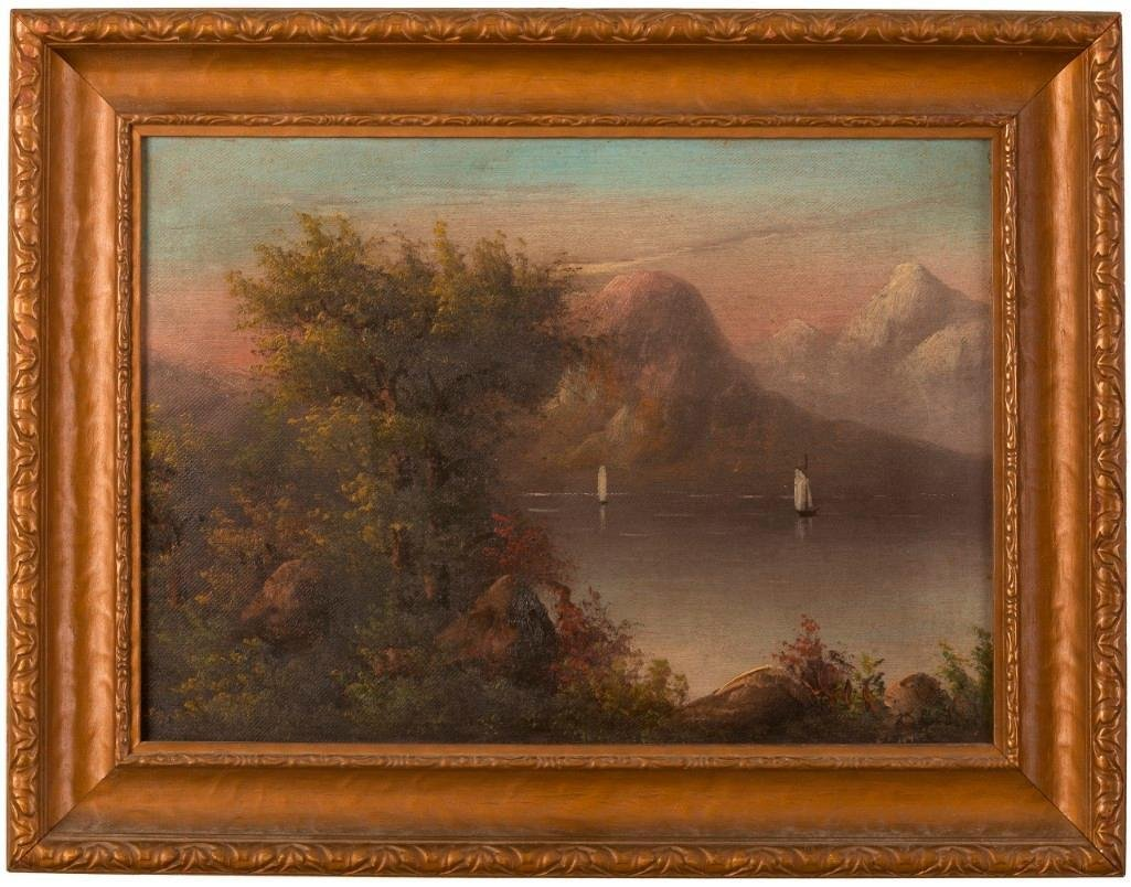 Mountain Landscape With Sailboats. American School,