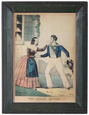 Pair of Currier Prints, Sailors Adieu & Return