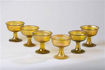 Louis Comfort Tiffany Favrille Art Glass Stem Glasses.