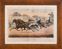 Currier  Ives Horse Racing Print