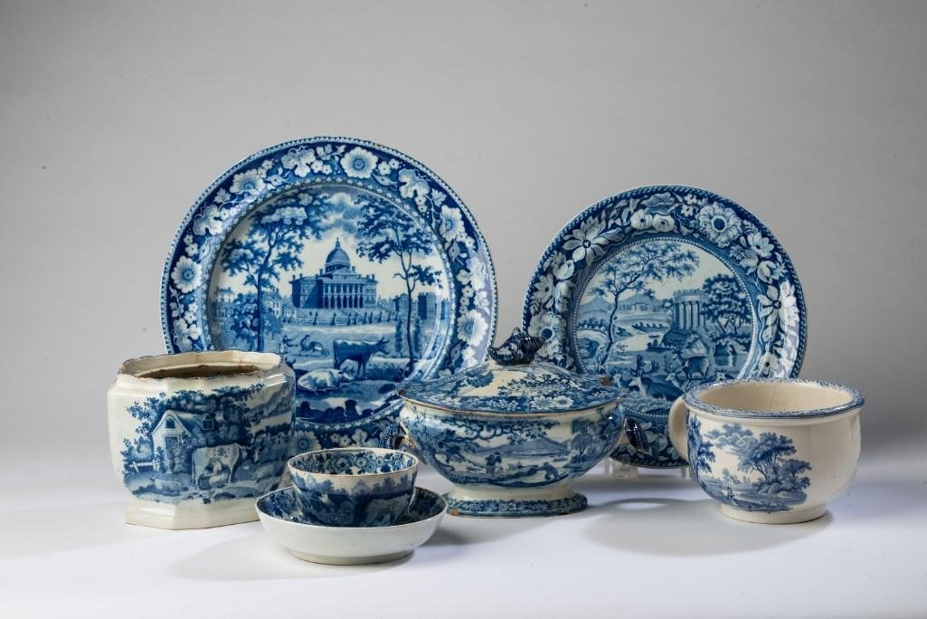 Group of Blue and White Staffordshire Pottery.