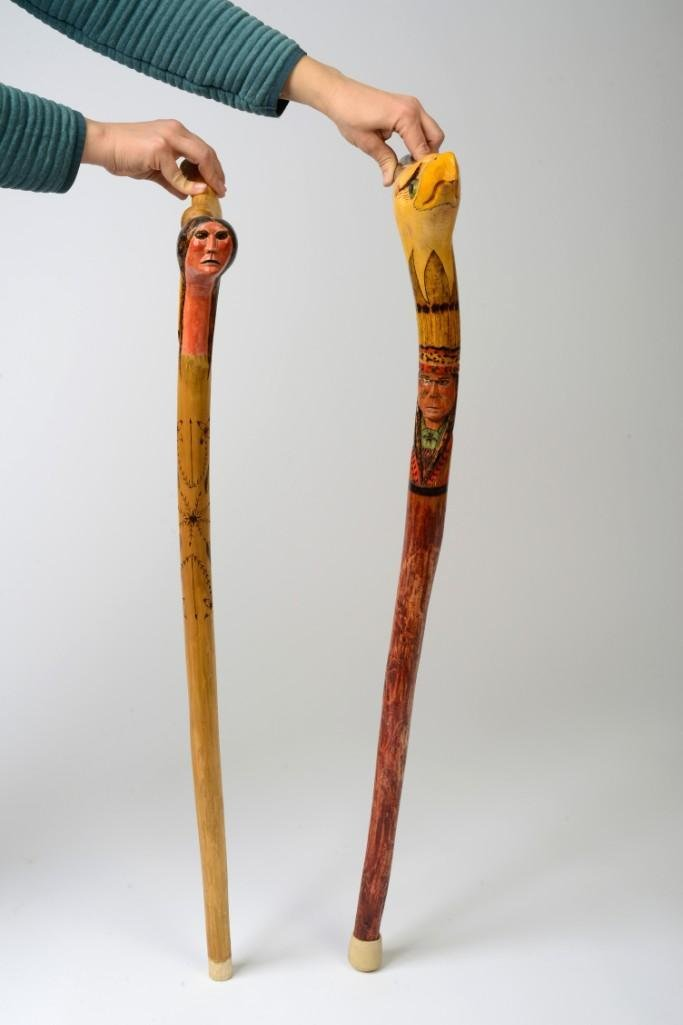 Two Carved Native American Canes.